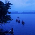 Le lac de Hangzhou au crépuscule.